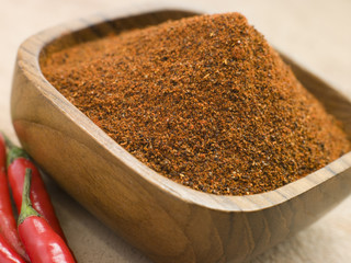 Dish of Hot Chili Powder with Fresh Chilies
