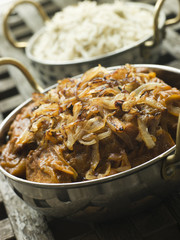 Dish of Dopiaza Veal with Fragrant Pilau Rice