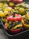 Bell Peppers stuffed with Keema Sag Aloo and Vegetable Pilau