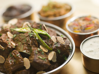 Meat Madras Restaurant Style with Raita and Chutneys