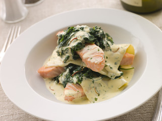 Lasagne of Salmon and Spinach with a Saffron Cream