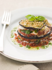 Aubergine Tower with Herb Oil