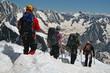 Cordée d'alpinistes à l'aiguille du midi