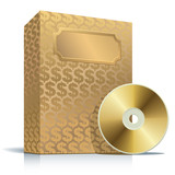 Golden software box with dollar background poster