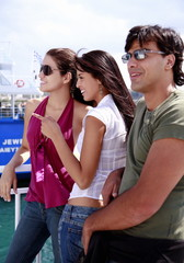 Young people at the ferry dock