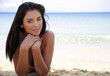 Closeup of young woman on beach