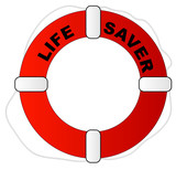 red and white life preserver with words life saver poster