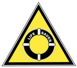yellow caution sign with life saver or guard symbol