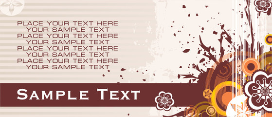 background with banner for your text and flowers