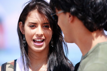 Closeup of young woman and man
