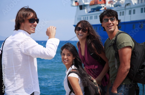 Group of friends in front of ferry