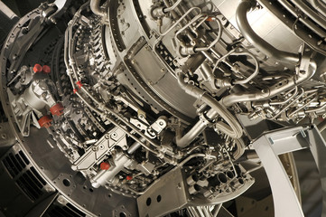 large jet engine detail on display