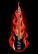 Vector illustration of bass guitar in flames