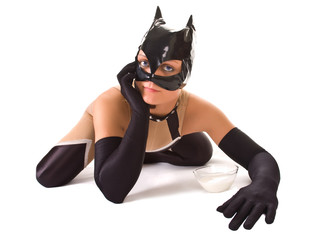 Close-up of ypung girl in cat mask (isolated on white)