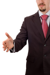 businessman with an open hand ready to seal a deal (isolated on