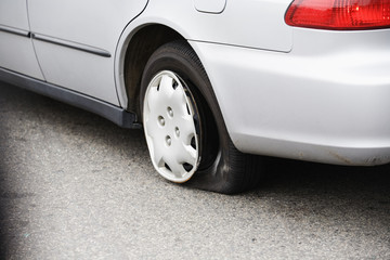View of a punctured tire.