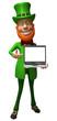 Lutin irlandais avec un ordinateur portable