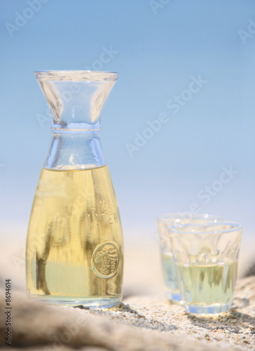 Wine carafe with glasses