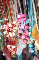 Shell necklaces displayed for sale