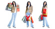 happy young lady holding shopping bags