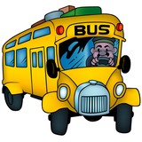 School Bus - colored cartoon illustration