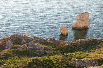 A coastline with many big rocks.