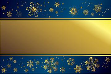 Goldener Rahmen mit Schneeflocken vor blauem Hintergrund