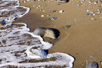 Water lapping on the sea shore
