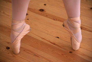 Closeup of ballerina pointing her toes