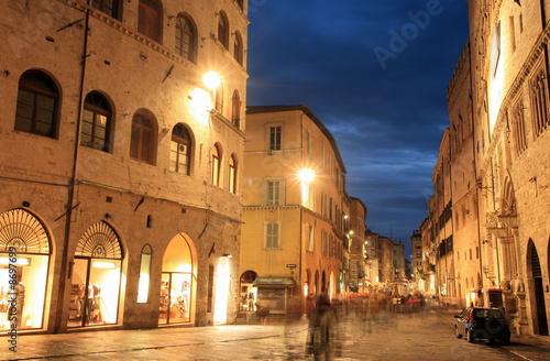 Evening street scene;Perugia;Italy