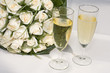 bridal bouquet and champagne