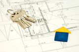 house and keys over some technical drawing poster