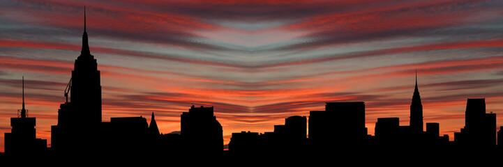 Manhattan skyline at sunset illustration