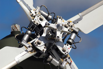 close-up detail of helicopter tail rotor blades