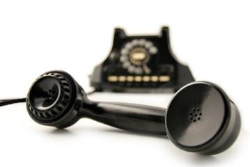 Telefono nero anni 60 - cornetta stesa