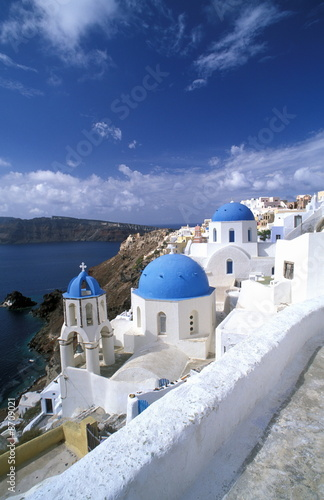 Greek island churches on cliff