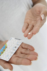 Close-up of woman's hands holding pills