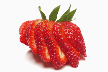 Sliced strawberry on white background
