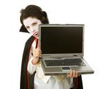 Halloween Vampire with Laptop poster