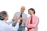 Businessmen meeting, employees making fun of their manager poster