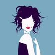 tête de jeune fille bleue