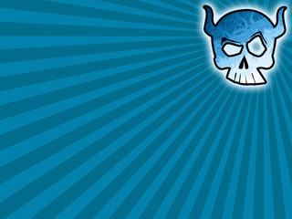 Skull blue background