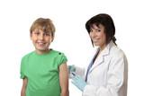 Brave boy receives a vaccination or medicine shot poster