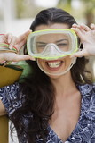 Woman wearing scuba mask