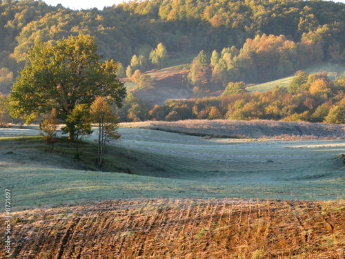 Beautiful early morning countryside landscape in Bosnia