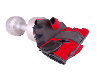 Dumbbell & Red Gloves
