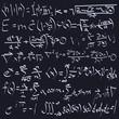 scientific formulas on chalk board