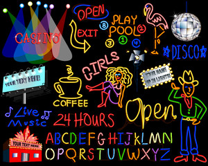 neon lights style signs