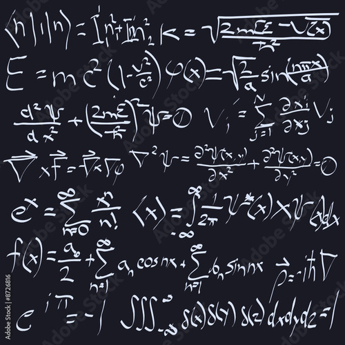 scientific formulas on chalk board