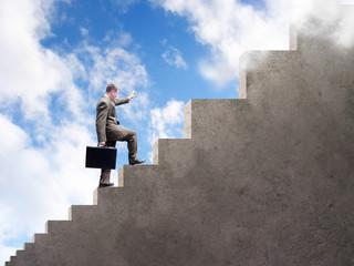Business Man Climbing to Success